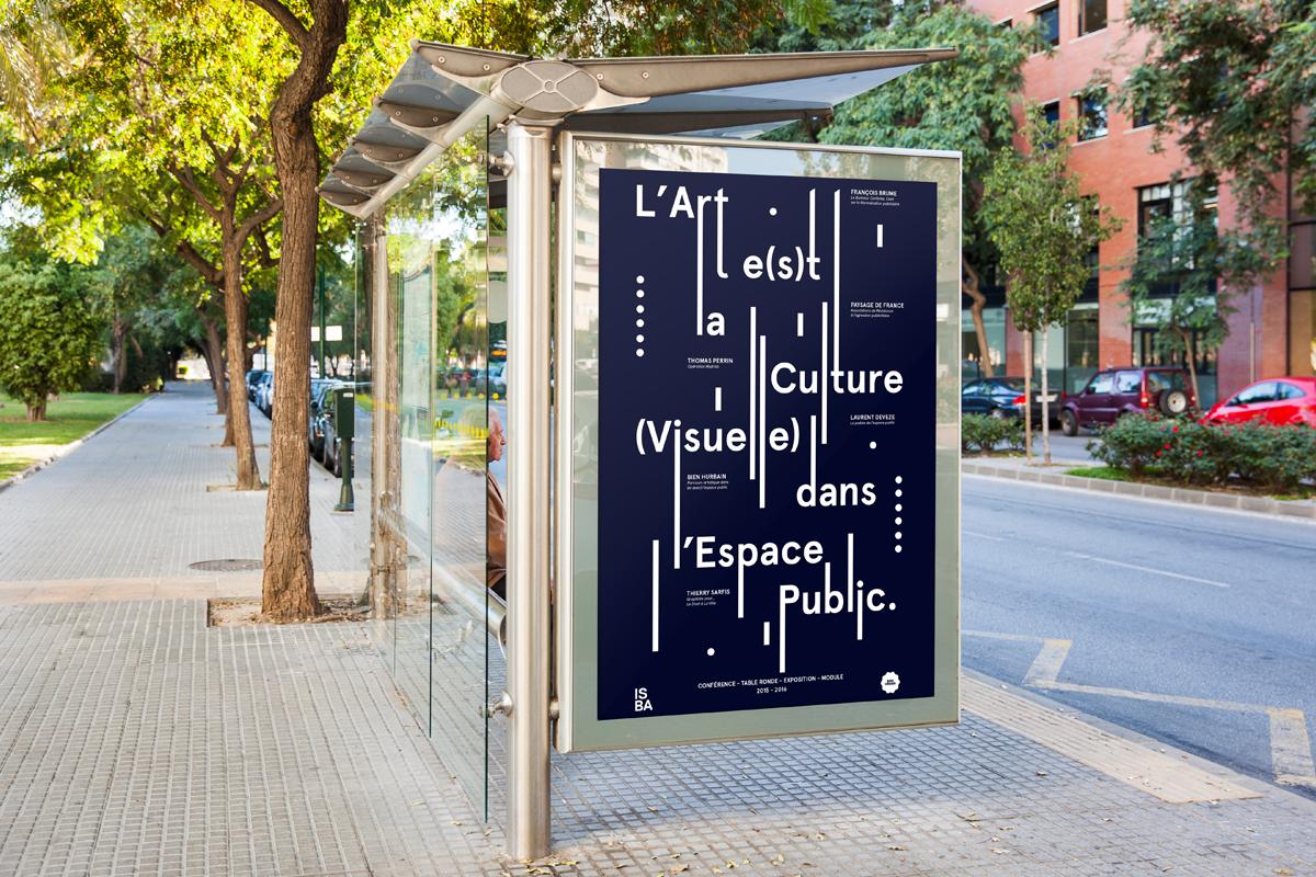 L'art et la culture visuelle dans espace public affiche mise en situation dans la rue code graphique