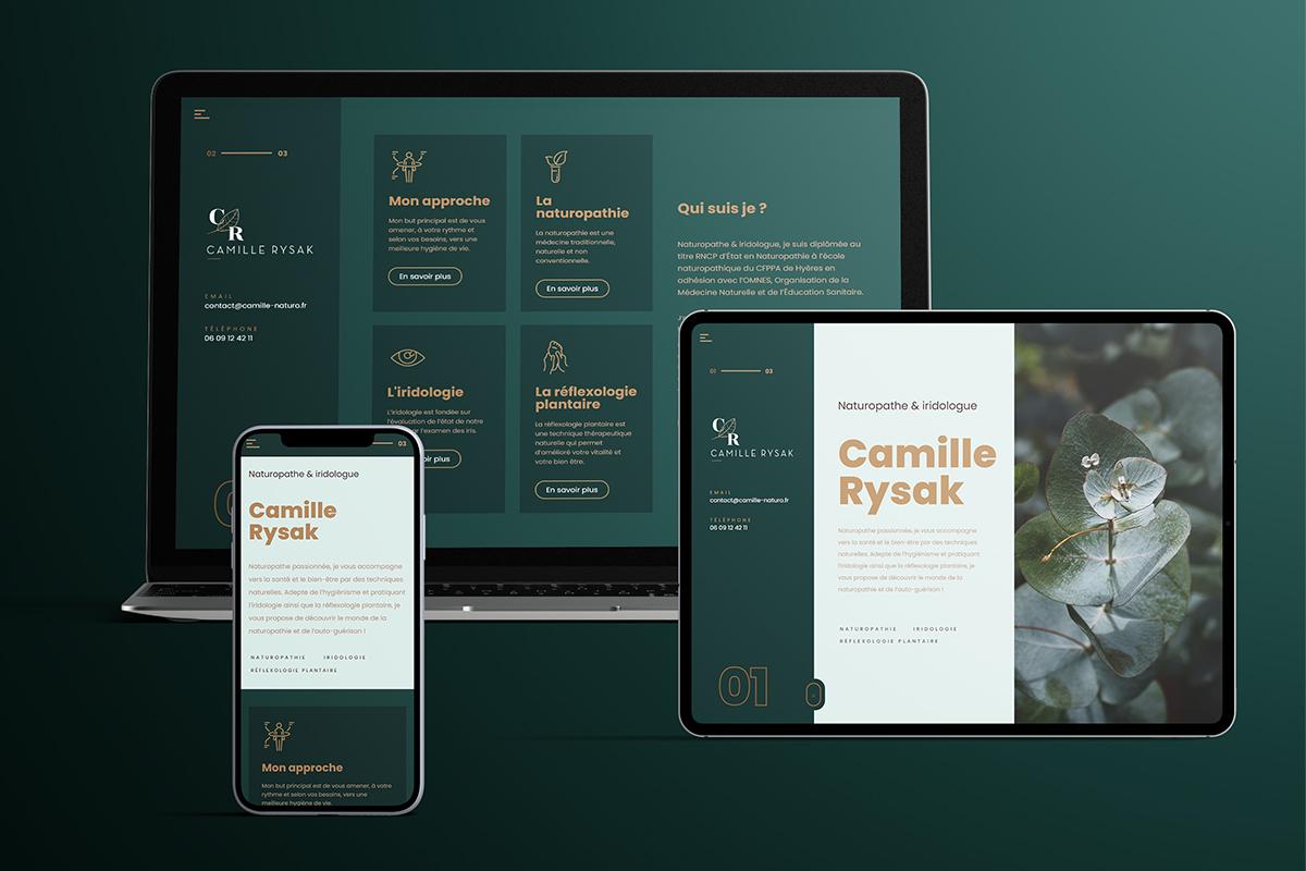camille rysak réflexologie plantaire naturopathe iridologue site internet logo code graphique