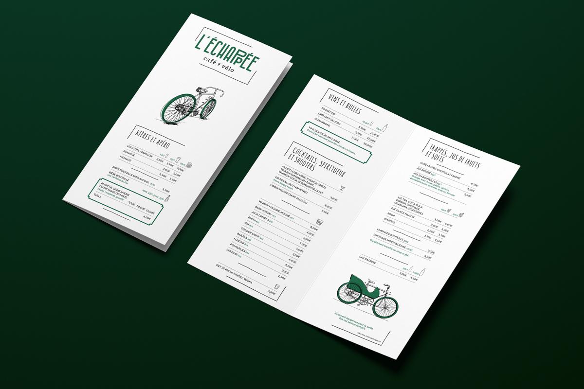 l'échappée concept café vélo carte menu dépliant bar concept inédit Besançon