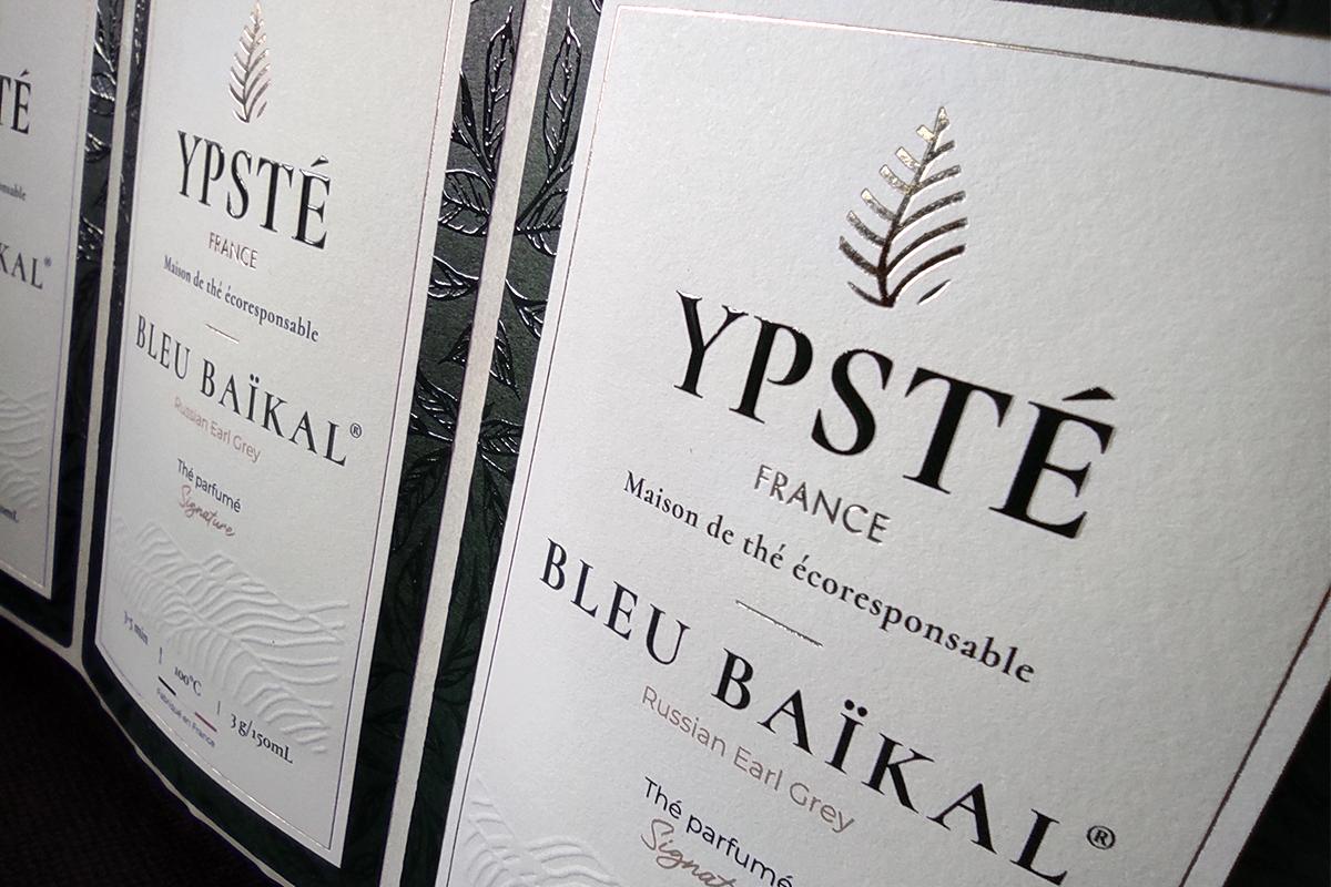 YPSTÉ maison de thé étiquette imprimée embossage dorure